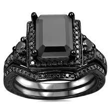 overstock wedding ring sets noori 14k black gold 2 1 4ct tdw black emerald cut certified