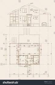carport blueprints authors design residential frame house terrace stock vector