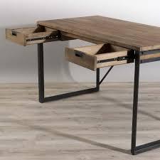 bureau bois et metal bureau 2 tiroirs bois et métal dpi import