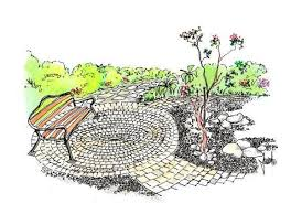 quanto costa la ghiaia terrazza circolare in giardino con mattoni e ghiaia idea di progetto