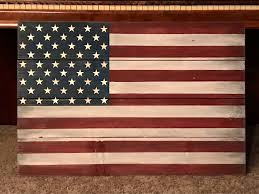 Flag Hanging Rustic Wood American Flag Wall Hanging For Indoor Or Outdoor Use