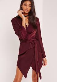 long sleeve kimono wrap dress burgundy missguided