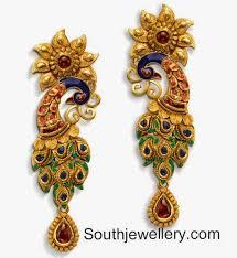images of earrings in gold earrings in enamel inspired by a peacock jewellery designs