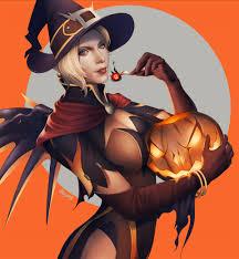 overwatch halloween mercy artstation halloween sz pentaloid