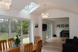 2 x sets of bi fold doors onto decked area with skylights and