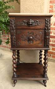 Bedroom Furniture Marble Top Nightstands Antique French Carved Oak Barley Twist Nightstand End Table