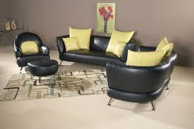 butter yellow leather sofa and leopard pouf contemporary living