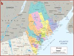 Map Of State by Maine Wall Map Political