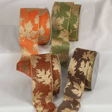 wired gold fall leaves ribbon fall halloween ribbon