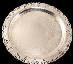 silver tray home decorators inc scalloped with pierced edges