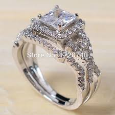 wedding ring sets sz 5 10 princess cut white gold filled white cz women wedding ring