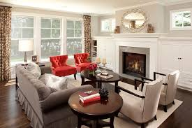 red accent chair living room gray walls and red accents living room traditional with red accent