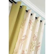and lime green botanical print linen country color block curtains