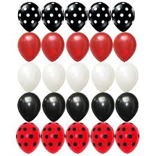 25 x black red white latex balloons polka dots assorted mickey