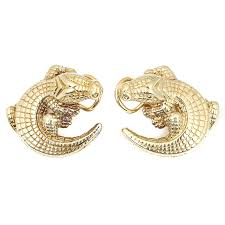 gold clip on earrings 18k yellow gold alligator clip on earrings ebth