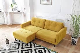 canapé avec pouf canapé droit fixe édition limitée velours avec pouf scandi