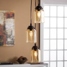 Colored Glass Pendant Lights Tresa Colored Glass Triple Pendant Lamp Amber Southern