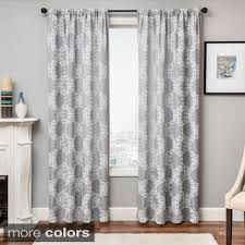 Curtains White And Grey Park Emerson Damask 95 Inch Curtain Panel Free Shipping