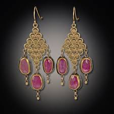 filigree earrings 22k filigree earrings with pink sapphires
