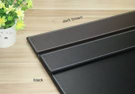 Black Leather Desk Mat 60x45cm Wooden Leather Office Desk Organizer Writing Board File