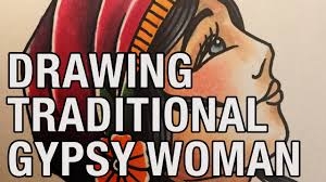 drawing a gypsy woman traditional tattoo flash 5 youtube