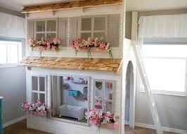 girls loft bed with slide custom dollhouse cottage loft bed with play area pick your colors