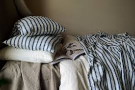french antique ticking natural linen pillow cases