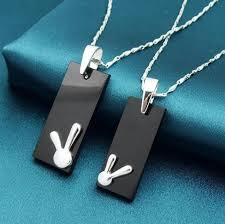 couple necklace images Rabbit sterling silver couple necklaces lovers necklaces jpg
