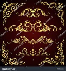 vector set golden ornate page stock vector 525408367