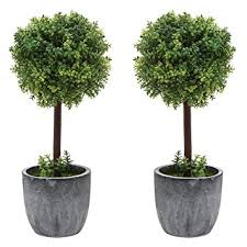 set of 2 small realistic artificial boxwood topiary
