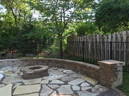 Flagstone Firepit Pit With Flagstone Patio Breck Outdoor Services And