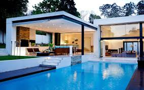 design your own home and garden nice patio with cabinet also black chairs beside of big pool house