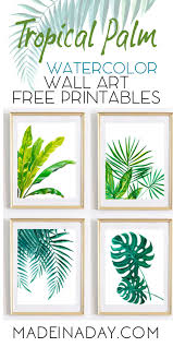 cheap printable wall art tropical palm watercolor wall art printables made in a day