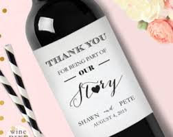 labels for wedding favors personalized thank you wedding wine label custom wedding wine