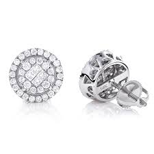 real diamond earrings for men diamond stud earrings 1 33ct 14k gold pave clusters