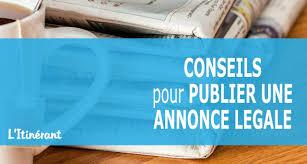 annonce l ale changement si e social conseils pour publier des annonces légales l itinérant