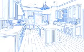 beautiful custom kitchen design drawing in blue on white stock