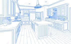 Kitchen Design Sketch Beautiful Custom Kitchen Design Drawing In Blue On White Stock