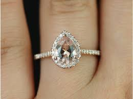 morganite gold engagement ring rosados box 8x6mm gold pear morganite and diamonds