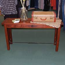 Amish End Tables by Jordan Plank Top Sofa Table Shown In Rustic Cherry With A