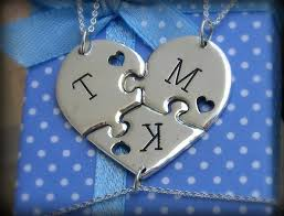 Custom Heart Necklace Three Piece Custom Heart Puzzle With By Bluetreedesigns On Zibbet