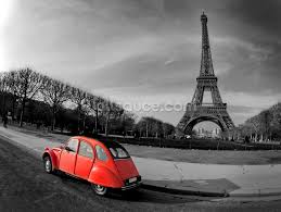 Paris Wall Murals Eiffel Tower And Old Red Citroen Wallpaper Wall Mural Wallsauce Usa