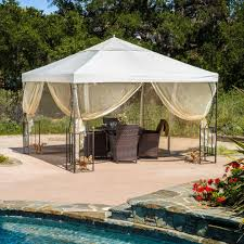 Netting For Patio by Contemporary Gazebo Canopy Beige Mosquito Netting White Weather