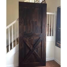 custom made sliding barn door half x brace design dark