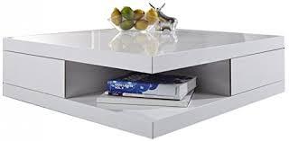 basse carrée 85x85cm avec 2 tiroirs coloris blanc laqué