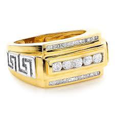 mens gold diamond rings rings 14k gold mens baguette diamond ring 0 97