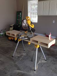 dewalt table saw folding stand new dewalt miter saw and stand with custom built table jigs