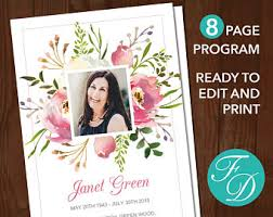 sle of funeral program obituary template 8 page floral funeral program template