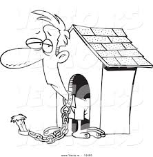 dog house coloring pages vector of a cartoon man chained by a dog house outlined coloring