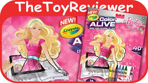 barbie crayola color alive action coloring pages unboxing toy